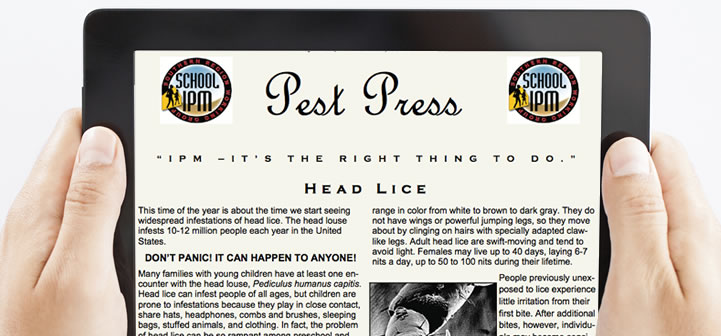 Tablet showing Pest Press newsletter.